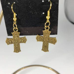 "Brass Carved Cross Earrings  1.5"" drop"